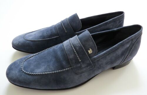 STEFANO RICCI Blue Suede with Silver Eagle Shoes Loafers Size 11 US 44 EU 10 UK