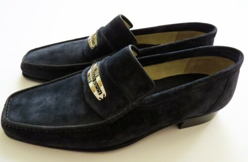 STEFANO RICCI Navy Blue Suede Leather Shoes Loafers Size 9 US 42 Euro 8 UK