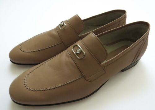 STEFANO RICCI Light Brown Leather with Silver Eagle Shoes Size 9 US 42 Euro 8 UK