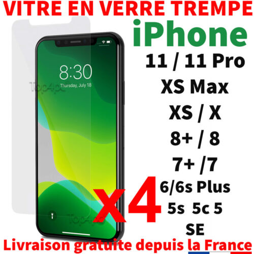 VITRE PROTECTION VERRE TREMPÉ FILM ÉCRAN POUR IPHONE 7 6S 5 X XR XS MAX 11 PRO <br/> LOT PACK iPhone 11 PRO XR XS Max 8 7 6 6S Plus 5 5s 5c