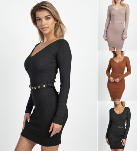 Sexy Sweater Dress Fitted Ribbed Knit Belted V-Neck Long Sleeve Mini Bodycon