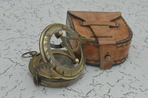 Solid Brass Push Button Sundial Compass with leather box