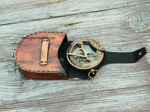NAUTICAL ANTIQUE COLLECTIBLES BRASS GIFT SUNDIAL COMPASS WITH LEATHER CASE