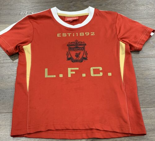 Boys / Girls size 3-4 Red LIVERPOOL FOOTBALL CLUB top - T-shirt  *Great Con* LFC