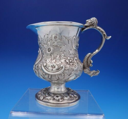English Georgian Sterling Silver Creamer Pitcher Figural w/ Man Dolphin (#3696)