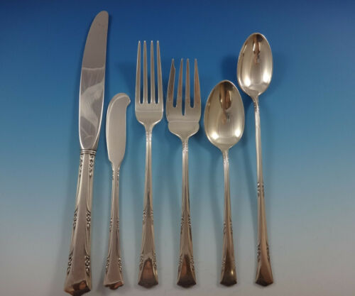 Greenbrier by Gorham Sterling Silver Flatware Set For 12 Service 81 Pieces