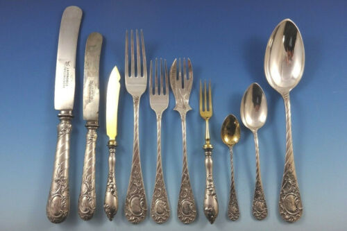 German C1890 Fitted Box 800 Silver Flatware Set Service 166 Pieces