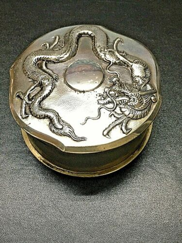 19 CENTURY CHINA CHINESE STERLING SILVER HIGH RELIEF DRAGON BOX WITH HALLMARK 纯银