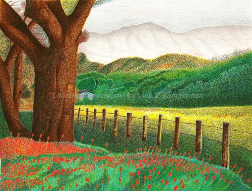 Nature Country Side Scene ORIGINAL signed Pointillism 8.5x11 by LVZ
