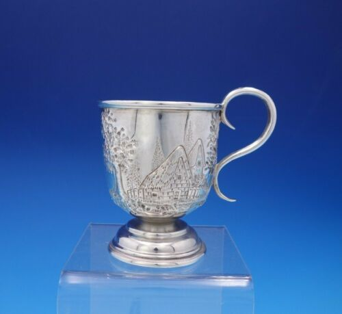 Repousse by George Sharp Coin Silver Mug / Cup Architectural Chased (#3801)