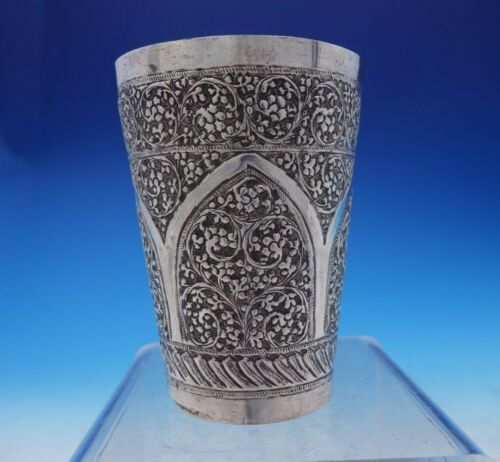 """Middle Eastern Silver Cup with Scrollwork Repoussed Design 3 1/2"""" Tall (#3873)"""