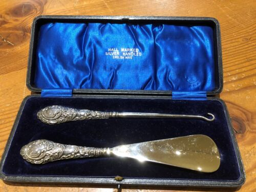 Antique Sterling Silver Shoehorn and Button Hook Set