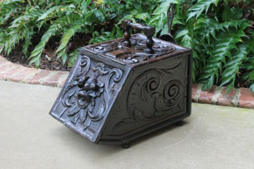 Antique English Coal Hod Scuttle Hearth Fireplace Renaissance Tin Liner 19th C