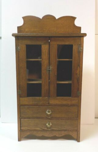 Vintage Oak Hand Made Miniature Child's Country Cupboard, c. early 20th C.