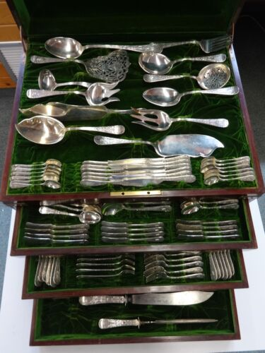 Sheraton by Mount Vernon Sterling Silver Flatware Set Fitted Chest 243 Pc R Mono