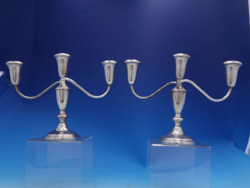 Old French By Amston Sterling Silver Candelabra pair 3-light #616 (#4018)