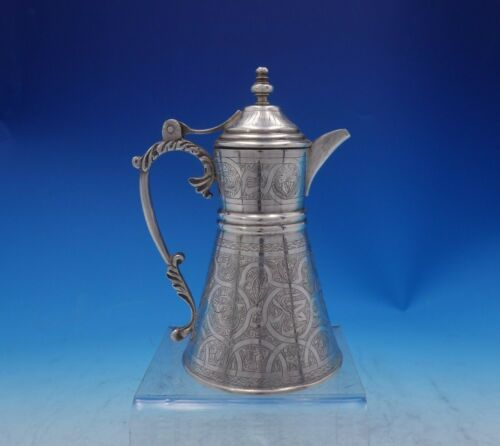 """Eyptian .900 Silver Coffee Pot Individual Hand Chased Design 5 3/4"""" Tall (#3951)"""