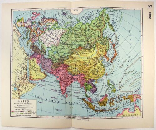 Original 1933 German Map of Asia by Meyers
