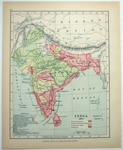 Vintage Map of India in 1804 by Longmans Green 1902