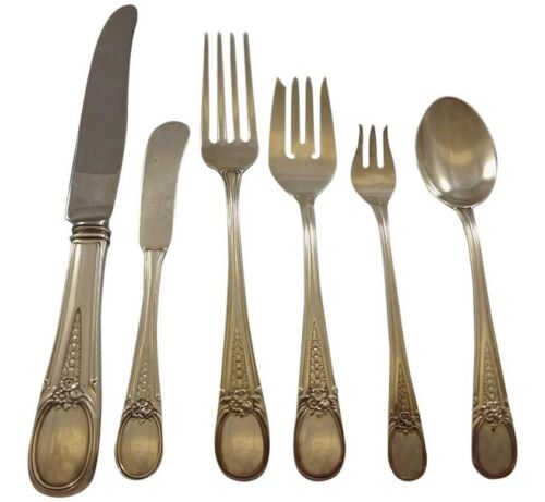 Flowered Antique by Blackinton Sterling Silver Flatware Service Set 38 Pieces