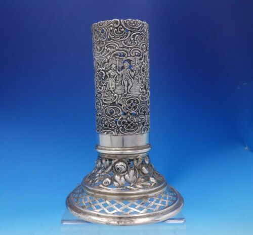 German .800 Silver Vase Holder Courting Couples Hanau Pseudo Hallmarks (#3958)