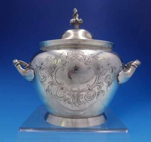 Bigelow Bros and Kennard Coin Silver Sugar Bowl 3-D Finial Hand Engraved (#4014)