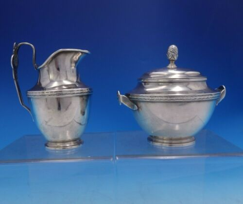 Medallion by Newell Harding and Co Coin Silver Sugar and Creamer Set 2pc (#4017)