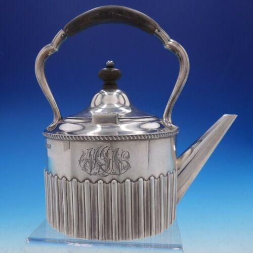 Victorian English Silver Tea Kettle with Wood Handle and Finial (#4269)