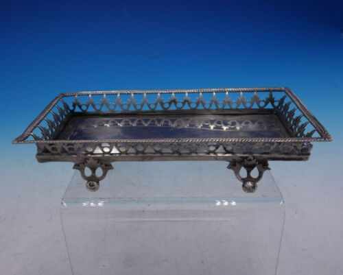 German Silver Cracker or Sugar Cube Footed Tray with Pierced Rim (#4240)