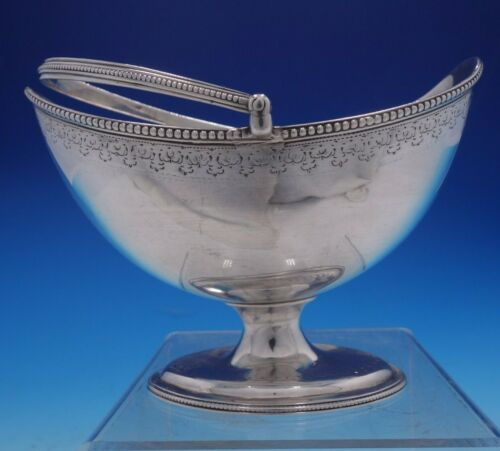 William Vincent Georgian English Silver Basket Hand Engraved Vintage (#4248)