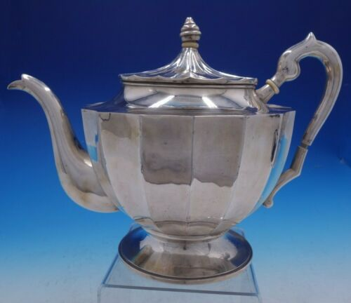 "Austrian Silver 8"" x 11"" Tea Pot with Fluted Body made in Pest Vintage (#4254)"