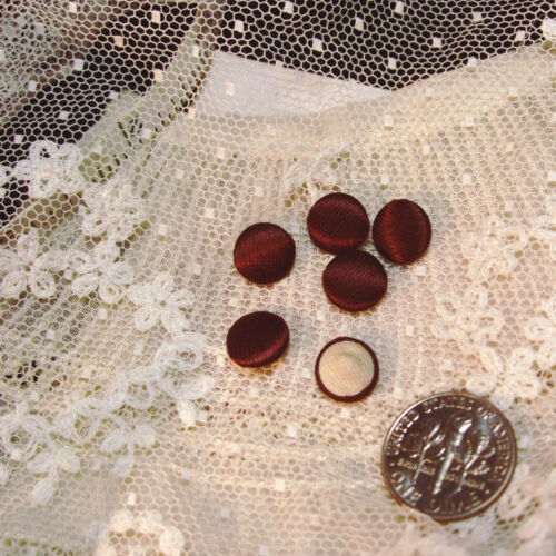 """ONE antique french silk doll button doll-dress tiny small 1/4"""" red burgundy vtg"""