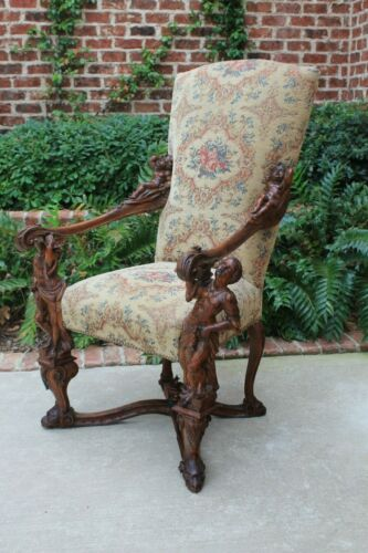 Antique Italian BESAREL Walnut Blackamoor Arm Chair BAROQUE Mid-19th C RARE