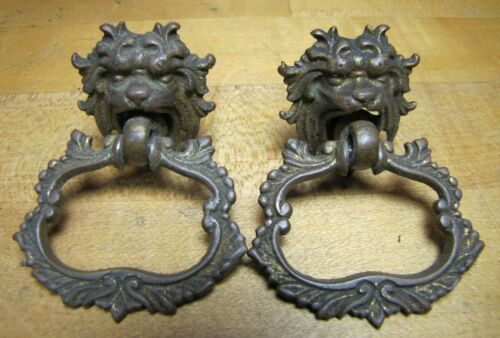 Antique 19c MONSTER BEAST Pair Bronze Pulls Ornate Victorian Hardware Elements