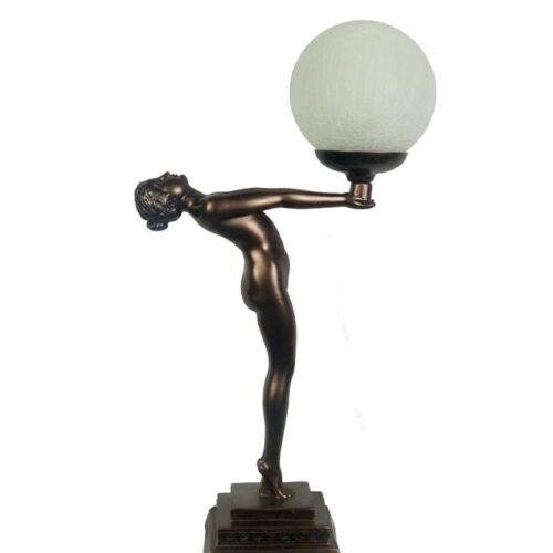 OUTSTRETCHED LADY ART DECO STYLE TABLE LAMP LIGHT  - BRONZE/BROWN FINISH - NEW