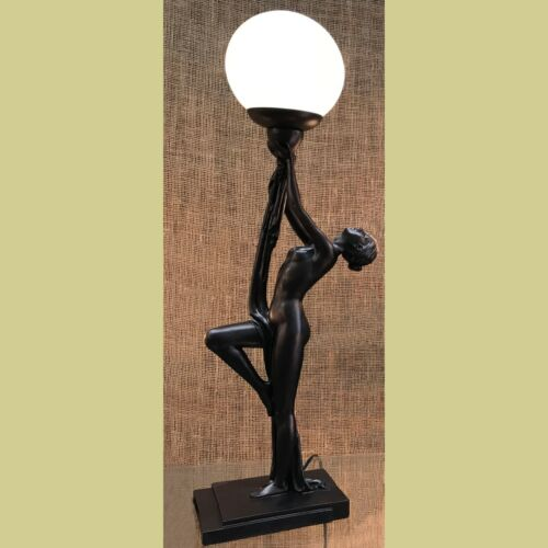 CLASSICAL BRONZE BROWN LADY TABLE LAMP WITH CRACKLE GLASS BALL SHADE - NEW
