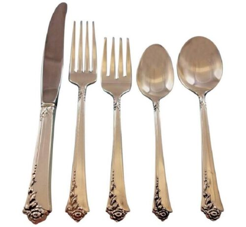 Damask Rose by Oneida Sterling Silver Flatware Set for 8 Service 40 pieces