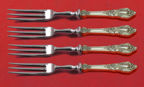 "Eloquence by Lunt Sterling Silver Fruit Fork Set 4-Piece Custom Made 6"" HH WS"