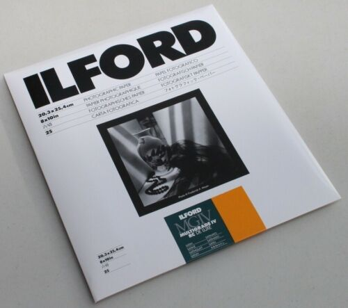 Brand New - ILFORD MGIV RC DELUXE 8x10 - SATIN - 25 SHEETS - DARKROOM PAPER