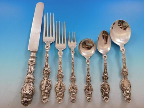 Lily by Whiting Sterling Silver Flatware Set for 4 Dinner Service 34 pcs No Mono