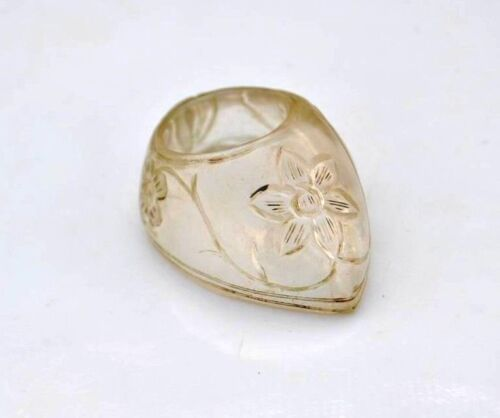 Vintage indian mughal islamic hand carved rock crystal archer ring qing dynasty