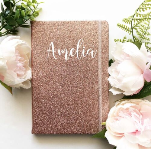 Personalised Notebook Glitter Sparkly Rose Gold Silver Journal Personalised book