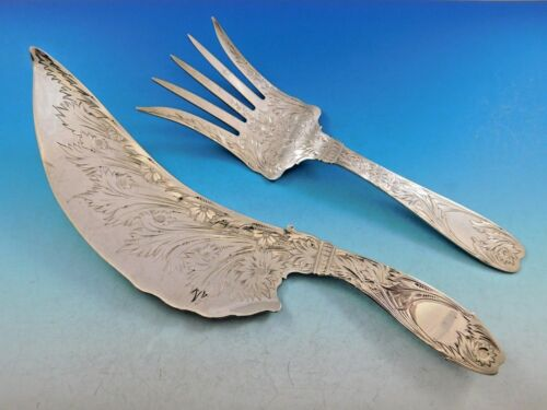 """Whiting Sterling Silver Fish Serving Set Engraved with Flowers 11"""""""