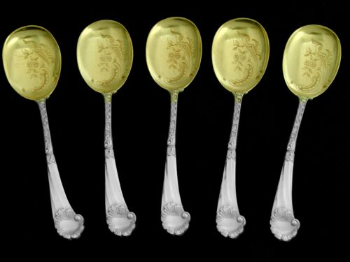 Soufflot Fabulous French Sterling Silver 18k Gold Ice Cream Spoons Set Rococo