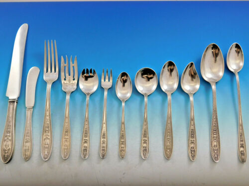 Wedgwood by International Sterling Silver Flatware Set for 8 Service 107 Pieces