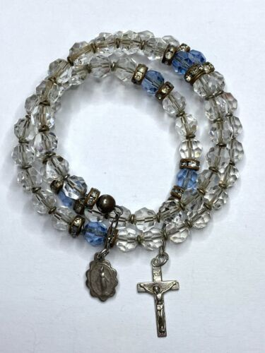 """† VINTAGE STERLING COIL WIRED WRAPPED CRYSTAL CLEAR ROSARY BRACELET 6"""" - 9"""" †"""