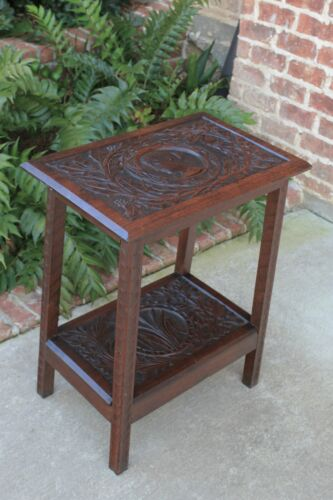 Antique English Oak End Table 2-Tier Highly Carved Trees Vines Side Table