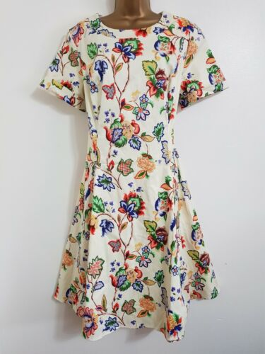 NEW Debenhams Plus Size 16-28 Cotton Red Green Blue Cream Floral Midi Tea Dress