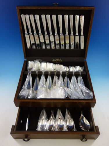 Queen Anne Rattail English Silverplated & Stainless Flatware Set Service 77 pcs