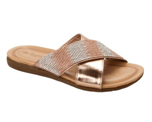 WOMENS LADIES ROSE GOLD WIDE FIT DIAMANTE FLAT DRESSY SUMMER MULES SANDALS SIZE